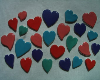25GH - VIBRANT Floating HEARTS - Ceramic Mosaic Tiles