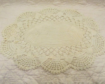Vintage Doily Off White hand crocheted SALE
