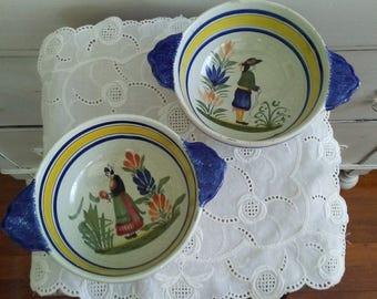 Vintage Quimper Hand Painted Lug Bowl Pair for Hanging