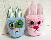 Bunny Monster Plush - Handmade Minor Bunny Plushie - Pink & Blue Faux Fur - OOAK Rabbit - Small Easter Bunny Plush - Small Monster Soft Toy