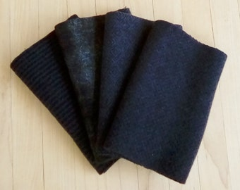 """Hand Felted Wool, COAL, Charcoal and Black Textures, Four 6.5"""" x 16"""" pieces for Rug Hooking, Applique and Crafts"""