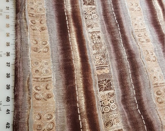 Rayon Challis Crepe type Brown colors Ethnic type striped print over 5yd