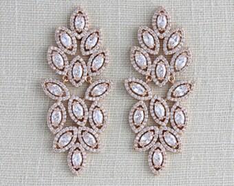 Rose Gold Earrings, Bridal jewelry, Crystal Bridal earrings, Statement earrings, Chandelier earrings, CZ earrings, Wedding earrings SCARLETT