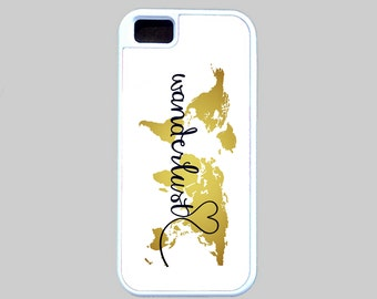 Wanderlust Phone Case, iPhone Case, Phone Cover, Map Phone Case, Inspirational, Samsung Galaxy Case, iPhone 6 Case Gold