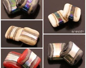 Lampwork Beads Metallic Silvered Ivory Square Set - Black Red Ivory Cream Handmade by Heather Behrendt SRA
