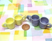 Miniature Pottery Cups Hand Turned Ceramic Mini Mugs in Harvest Yellow Tiny Tea Cups