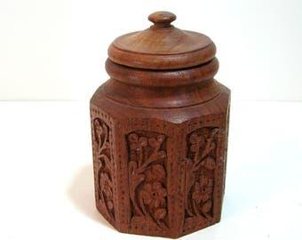 Hand Carved Wood Jar, Mini Canister, Boho, Wood Box