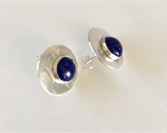 Lapis Lazuli Studs: Blue Cabochon Stones on Hammered Sterling Discs
