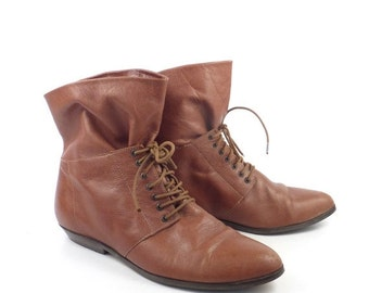 Buskens Short booties Vintage 1980s Brown Boots Leather Shoes Women's size 8 1/2 M