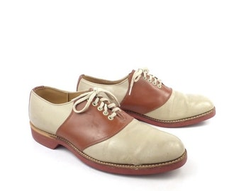 Saddle Shoes Vintage 1960s Brown Leather Oxfords Women's size