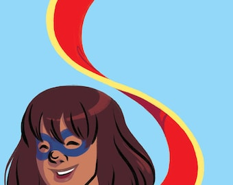 MS. MARVEL Comikaze Art Print! 5 x 7 in on Matte Archival Paper