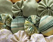 Clearance: Yoyo fabric pieces, 16, green and yellow assortment embellishments for scrapbook APPLIQUE Quilt GARLAND