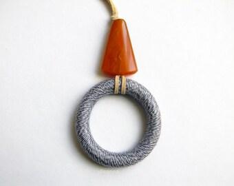Long necklace - Pendant necklace -  Mauve - Beige - Gift for woman.