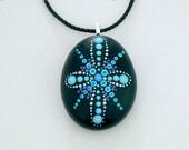 Mandala stones etsy,Bohemian necklace,hippie gypsy tribal boho jewelry,painted rock,pendant,unique ooak 3D art,glow in dark,neon pointillism
