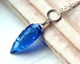 "Blue Quartz Necklace, Leaf Necklace on Sterling Silver - ""Blue Leaf"" by CircesHouse on Etsy"