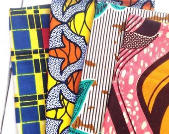 Fat Quarter bundle African wax prints x 4 fat quarter fabric. African fat quarter