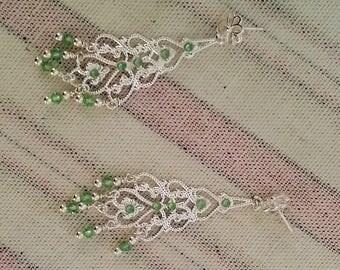 Swarovski Peridot Chandelier Earrings