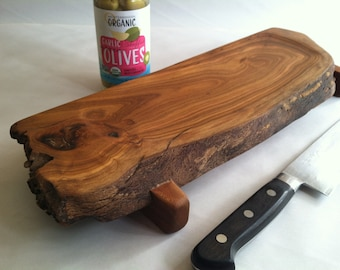 Raised DISHED Natural live edged APRICOT Serving Board/Sushi/Cutting Board