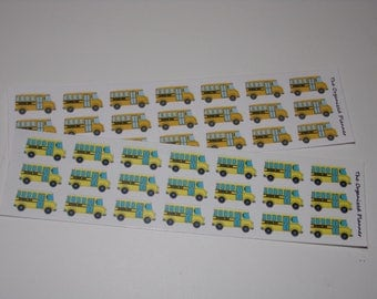 21 School Bus Stickers / School Stickers for your Erin Condren Life Planner