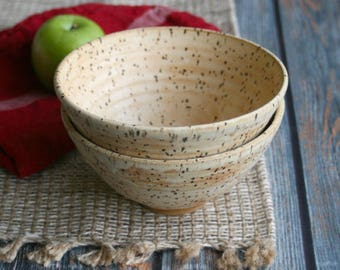 Pair of Rustic Creamy Matte Ceramic Serving Bowls in Toasted Speckled Stoneware Pottery Made in the USA Ready to Ship