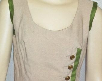 CHRISTMAS SALE Vintage Oleg Cassini 1950's Wiggle Linen Dress Autumn Fall 12