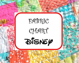 Fabric Selection Chart Disney Prints ~ DO NOT Add to Cart