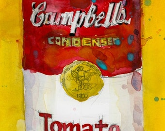Campbell Soup with Yellow  Background original Watercolor and print - 5 x 6.75  or Archival PRINT