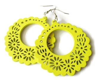 Large Yellow Flower Hoop Wooden Earrings