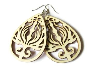 Natural Wooden Phoenix Earrings