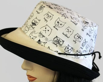 Sunblocker UV summer sun hat with large wide brim featuring cats with attitude print in natural and adjustable fit