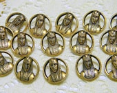 Vintage Brass or Bronze Tone Faux Metal Buttons - Pierced Style with Image of Egyptial Warrior~Set of  15