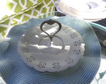 Chalk-painted Tray - Light Sage Green Tray - Painted Silver Tray
