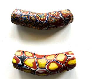 Large Elbow Shaped Trading Beads, Vintage Venetian Elbow Trade Bead, Venetian Glass Bead x 2