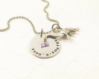 Book Lover Necklace - Cute Reader Jewelry - Geek Necklace - Dinosaur Necklace - Readasaurus - Nerd Pride - Geek Pride - Stamped Necklace