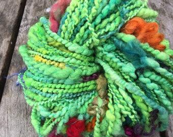 Funky OOAK art yarn hand dyed and handspun