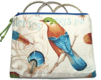 Padded Zipper Cosmetic Pouch in Ornithology Bird Print