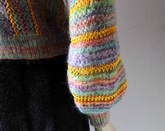 Vintage Hand Knit Striped 80s Sweater Harem Sleeve Candy Colors sz M 4 6 8