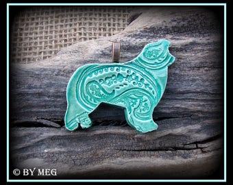 """Australian Shepherd Jewelry Pendant , Glazed Earthenware, Ceramic Approx  2"""" Wide"""