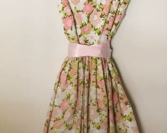 Vintage fabric Pink & Green floral dress 10/12
