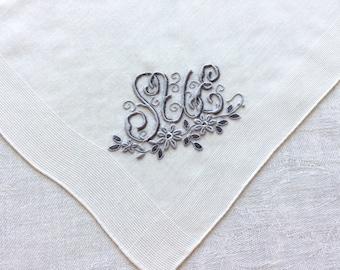 Vintage SUE Handkerchief Gray Monogram on White Cotton