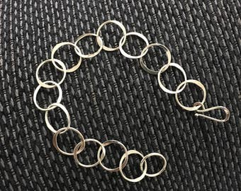 Argentium Sterling Silver Hammered Circle Bracelet 9 1/4 Inches