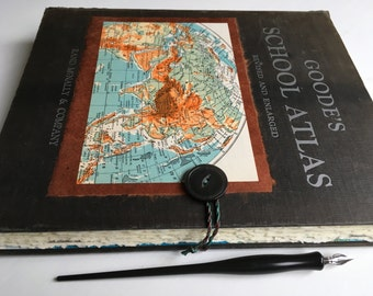 "XL Sketchbook, Large Re-purposed hardcover art journal, multimedia cotton paper ""Goode's School Atlas"", mixed-media sketchbook"
