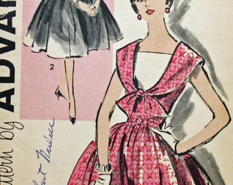 "Vintage 1950s Sewing Pattern, Advance 9454, Misses'  Dress, Misses' Size 14, Bust 34"", UNCUT, FF"