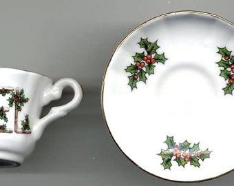 Miniature China Cup and Saucer White Base Christmas Theme England