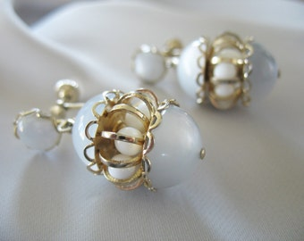 Lucite Moonglow Earrings, Caged Beads, Egg shape, Blue Gray, Gold tone, Drop Earrings, 1950s
