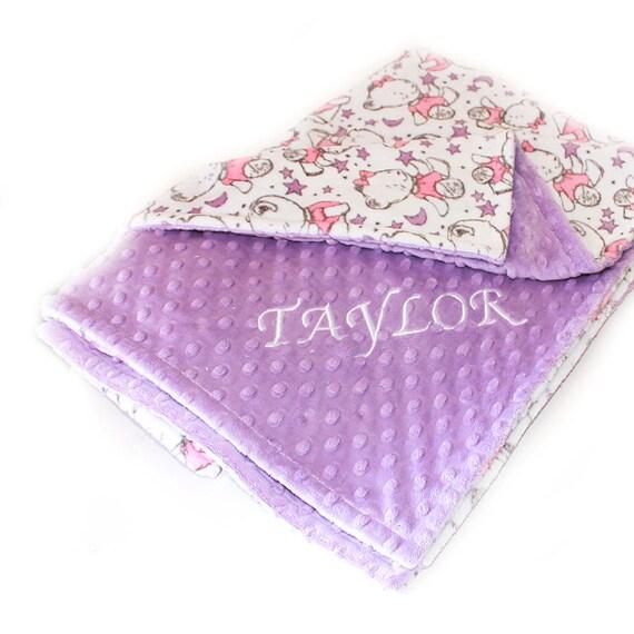 Baby Gift, Baby Girl Personalized Baby Blanket, Bear Baby Blanket, Lilac Baby Blanket, Name Baby Blanket Baby Shower Gift Kids Minky Blanket