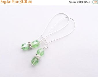 ON SALE Green Glass Beads with Rhinestone - The Verde earrings