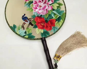 Exquisite Chinese hand embroidered round fan Suzhou embroidery 3 patterns