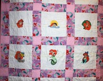 Ariel Little Mermaid Machine Embroidered Lap Quilt