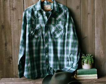 Wrangler Country Western Cowboy Shirt Size Medium With Pearl Snaps Pine Green and White Plaid Vintage From Nowvintage on Etsy